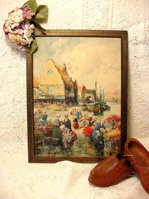 Old Vintage Litho Print  Framed Flower Market, Van Vreeland,  Holland, Netherlands,Dutch,