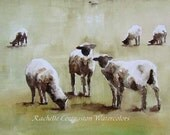 Girls Nursery Art print  sheep print / Lamb PRINT 8 x 10 (from  lamb painting) Nursery Farm art in black cream brown tan white green ivory