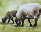 2 Sheep Grazing Watercolor PRINT of vintage inspired sheep print/ mother with baby sheep
