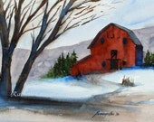 SET of Three Barns Prints barn wall art Watercolor red barn art PRINTS home decor set 5x7 gift under 30 gift for grandparent Snowy barn blue