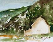emerald green barn PRINT watercolor painting Barn Painting (small art PRINT 5 x 7 rustic home decor barn wall decor white brown