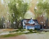 Print of original watercolor landscape painting landscape thanksgiving wall hanging fall home decor autumn wall art farm PRINT SET 11x14