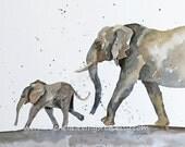 Large Children Wall Art Elephant artwork Elephant Baby PRINT Elephant Nursery Room Decor nursery art painting for boy animal painting 11x14