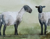 BOGO sale ORIGINAL watercolor sheep PAINTING (2 Lambs painting) 5x7 in gray olive sage avacado kelly lime green beige blue brown tan