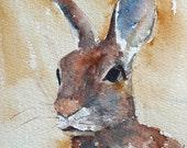 Bunny art Bunny artwork picture of bunny yellow baby decor yellow wall art 8 x10 Bunny art PRINT) cream brown beige citrine saffron blue