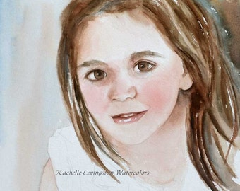 Custom PORTRAIT for her personalized gift for grandma gift for mom child Commission portrait child portrait painting Original ooak 8x10