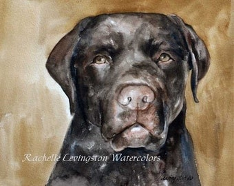 Lab Painting of dog Painting of lab Chocolate Lab art PRINT II (lab print) 8 x10 Dog print in brown sepia mustard cocoa