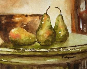still life watercolor painting ORIGINAL Pear Painting Original fruit painting ORIGINAL pear painting kitchen art fruit art 8x10 yellow bowl