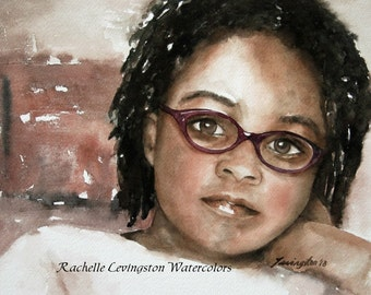 watercolor portrait painting African American portrait Girl art PRINT African American Girl African American 8x10 Girl in thought glasses