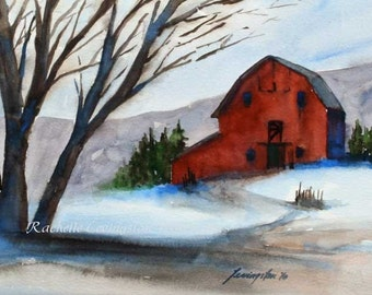 SET of Three Barns Prints barn wall art Watercolor red barn art PRINTS home decor set 5x7 gift under 30 gift for grandparent Snowy barn blue