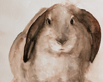Kids rabbit PRINT easter Print Bunny PRINT bunny art print Bunny painting Nursery art print baby girl wall art decor tan brown white dp