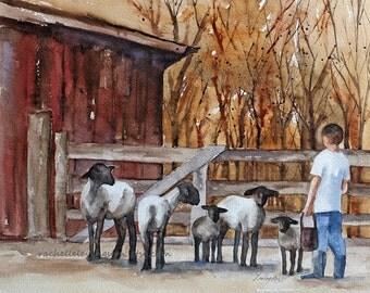for him Sheep painting farm painting sheep print of sheep lamb Folk art autumn painting fall decor fall harvest room decor wall  gold red