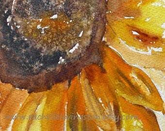 Sunflower PRINT Sunflower Painting of flower painting Sunflower art print Flower citrine gold art print for kitchen wall art home decor