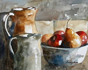 fruit still life painting Fruit art PRINT of fruit Watercolor Painting of fruit watercolor 5x7 apples pears ceramic bowl pottery pitcher red