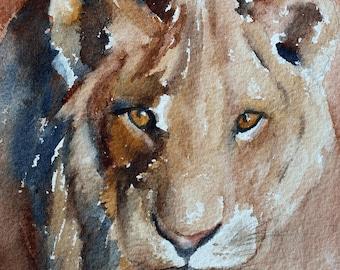 Lion PRINT from original lion painting Lion art print painting of lion lioness painting of lioness print of lioness art print watercolor