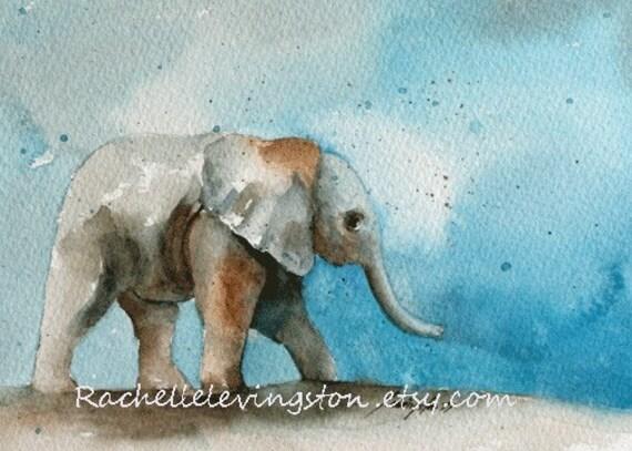 Sale Original Watercolor Painting Elephant Baby Ii 5 X 7