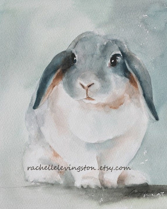 Silver and white lop eared Rabbit ORIGINAL watercolor PAINTING 8 x10 easter cuddly wall decor room soft brown beige hare tan robin egg spring old vintage inspired feel seafoam gift idea bogo sale mothers day Christmas portrait small animal hare pets bunny
