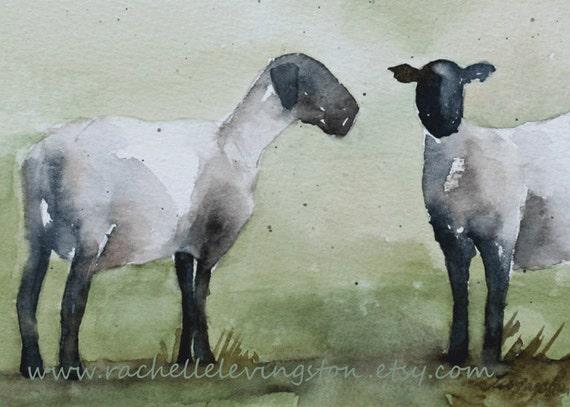 BOGO sale ORIGINAL watercolor sheep PAINTING (2 Lambs painting) 5x7 in gray olive sage avacado kelly lime green beige blue brown tan