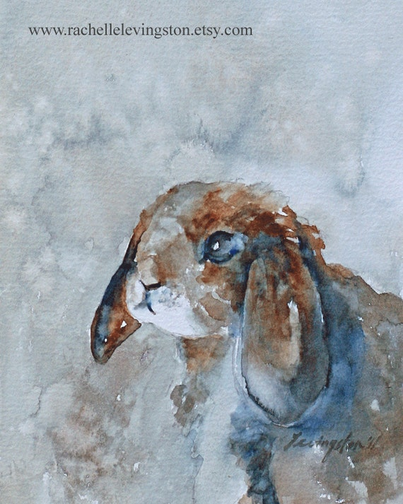 Bunny painting of bunny art PRINT of Bunny print Baby nursery print bunny artwork animal painting blue brown Large 11x14 Shabby Chic Cottage