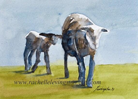 SHEEP with Baby PRINT 5 x 7( baby nursery print) in beige brown blue green cream periwinkle