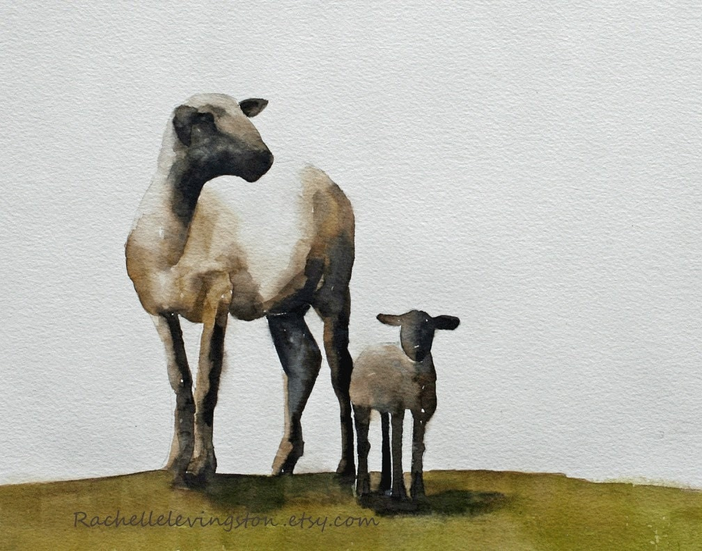 Mother Sheep With Baby Lamb Print Watercolor By