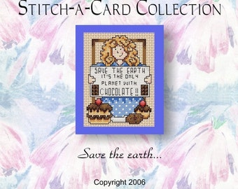 Cross Stitch Pattern - Stitch-A-Card Collection - 'Save the earth...'