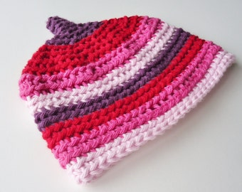 SALE Red Purple and Pink Newborn Pixie Hat 0 3 months Photo Prop Girl Stripes