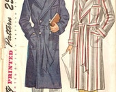 Vintage 1947 Simplicity Mens Robe Sewing Pattern Size Small No. 2172