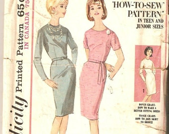 Vintage 1964 Simplicity Juniors One-Piece Dress Sewing Pattern Size 13 No. 5654