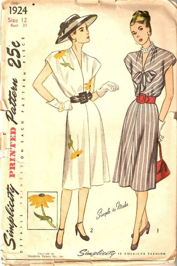 Vintage 1947 Simplicity Misses and Womens One-Piece Dress Sewing Pattern Size 12 No. 1924