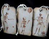 Victorian Skeleton Tags Vintage Set of Three