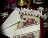 Victorian Valentine's card and  belly band Poker Queen of Hearts Perfect Gift