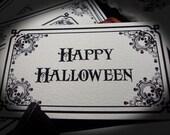 Halloween Invitations Skulls and Ornaments Black and White DIGITAL ART