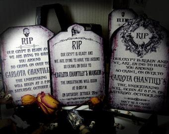 Halloween Invitation DIGITAL Graves Tombstones PRINTABLE DOWNLOAD