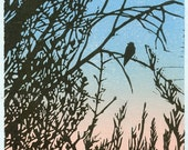 Sunrise, Swallow Linocut