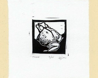 Tiny Toad Linocut