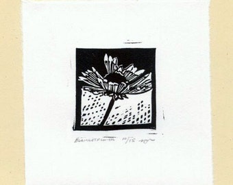 Tiny Blanketflower Linocut