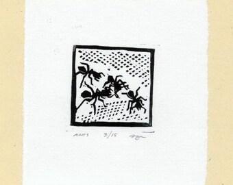 Tiny Ants Linocut