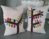 EMPTY Mod Tree Bean Bag Bookends on White Linen