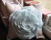 16x16 French Rose Pillow in Oatmeal and Robin Egg Blue Linen