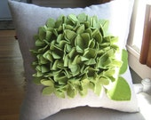 Hydrangea Pillow in Pea/Sage Green and Oatmeal Linen