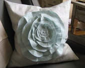 French Rose Linen Pillow- in French Blue and Robin Egg Blue