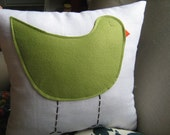 Sage Green Birdie Pillow on White Linen