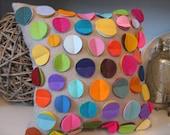 As Seen in DIY Magazine - Rainbow Disc Pillow on Oatmeal Linen