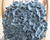 Storm Cloud- Round Charcoal Grey Hydrangea Pillow