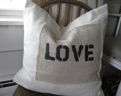 LOVE Stenciled Linen Patch Pillow Cover 16x16