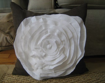 French Rose Pillow in Chocolate Brown Linen with White Rose