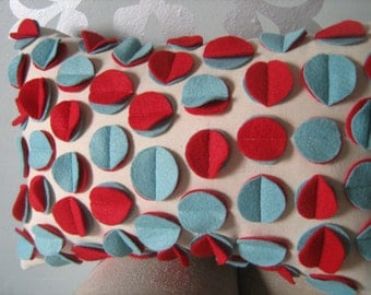 Disc Pillow in Aqua and Red