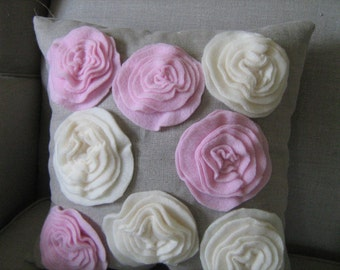 Garden Rose Pillow in Linen