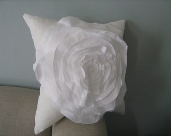 Stuffed French Rose Pillow in Cream with White Rose